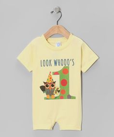 Another great find on #zulily! Banana 'Look Whooo's 1' Romper - Infant #zulilyfinds