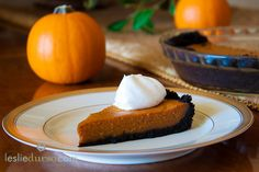 Vegan Pumpkin Pie with Chocolate Crust and Coconut Whipped Cream