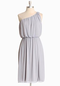 """Joffrey One Shoulder Dress In Light Gray  32.99 at shopruche.com. Soft and ethereal, this light gray dress has a delicate draped overlay and an elasticized waistline. Add statement jewelry to complete the look.  100% Polyester, Made in USA, 41"""" length from top of shoulder"""