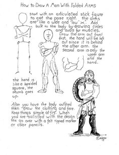 How to Draw Worksheets for Young Artist: How to Draw a Man With Crossed Arms Worksheet. Notes at the blog http://drawinglessonsfortheyoungartist.blogspot.com/2013/05/how-to-draw-man-with-crossed-arms.html