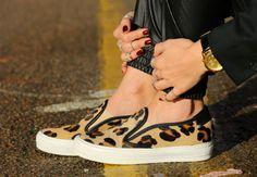 Leopard slip ons, pumps