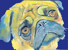 Pug Dog Painting, Print of Original Art 21 x 29.7cm Yellow / Blue colourful Pug dog art-holiday gift idea by OjsDogPaintings:… #dogs #art