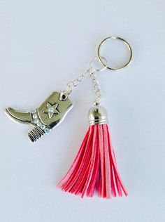 Cowgirl Boot Keychain Pink Leather Tassel Gift for by stinkncutemj