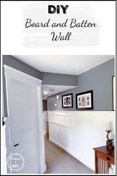 Cheap and easy tutorial for how to build a DIY board and batten wall. Add farmhouse rustic charm to your hallway, entryway, dining room, living room, or bedroom with a beautiful accent wall. Easy upgrade to your home if on a budget.