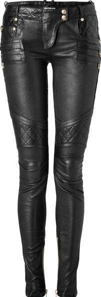 Leather skinnies, Balmain.  I love the different textures in these skinnies, they have a very chic biker look. the textured areas also have a glaze over them making them shinier compared to the rest of the pant.