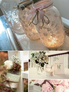 Lace wrapped Mason jar candle holders... Going to try this with the purple lace I dyed