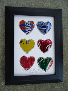 Soda Can Art Recycled Art HEARTS 5 x 7 by creationsbyingrid1, $9.00
