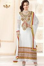Designer Embroidered Festival Lawn Kameez; Off-white Faux Georgette Embroidered Party and Festival Lawn Kameez
