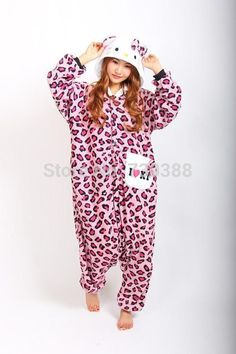 Adult Animal Anime Pink Leopard kt Kitty Cat Hello Kitty Onesie All In One  Cosplay Pajamas Fleece Sleepwear Pyjamas Plus Size 586a5f71d