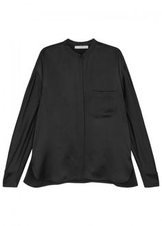 VINCE BLACK SATIN SHIRT. #vince #cloth #