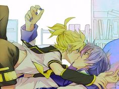 Kaito x Len Kiss  Vocaloid yaoi, yes... Can we get Gakupo in there too? =^_^=