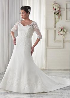 Marvelous Tulle V-neck Neckline Mermaid Plus Size Wedding Dresses with Embroidery