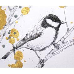 GREATFINCH original bird drawing by kerrylemon