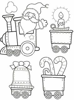 Printables for a Christmas Train Coloring Pages Christmas Train, Noel Christmas, Christmas Colors, Christmas Projects, Holiday Crafts, Christmas Stockings, Christmas Decorations, Christmas Ornaments, Holiday Train