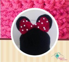 Modelo N° 12: Minie Mouse, Hermosoa y tradicional gorro tejido de minie mouse, ideal para tu nena