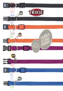 TRIXIE-Quality-Elastic-Cat-Collar-With-or-Without-a-ENGRAVED-PET-ID-TAG-Tags