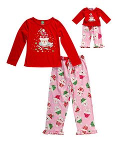 Love this Red Santa Cupcake Pajama Set & Doll Outfit - Girls by Dollie & Me on #zulily! #zulilyfinds