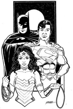 Gorgeous portrait of Batman, Superman and Wonder Woman by one of my favorites, George Perez.