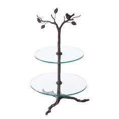 """Two Tier Glass and Metal  29""""   Iron Tree  Dessert  Display  $41. Something similar to this would be so pretty for the candy bar display."""