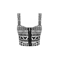 Reilly Monochrome Tribal Print Zip Bralet Crop Top (€16) ❤ liked on Polyvore featuring tops, bralet, shirts, t-shirts, crop, tribal shirt, zipper shirt, zip crop top, black crop top e zipper crop top