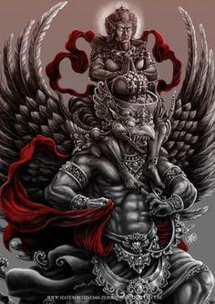 Royal Blood: Garuda Vishnu on Behance Hindu Tattoos, Buddha Tattoos, Body Art Tattoos, Khmer Tattoo, Thai Tattoo, Shiva Art, Hindu Art, Indian Gods, Indian Art