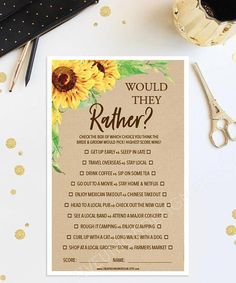 6951b97bc76c Would They Rather Game Bridal Shower Game - Sunflower Bridal Shower Game - Wedding  Shower - Sunflowers - Print at Home - Instant Download