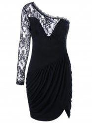 One Shoulder Ruched Lace Panel Dress - BLACK