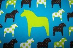 Baumwoll Jersey Kinder Stoff Pferd Dots türkis Vicente Öko-Tex Standard 100