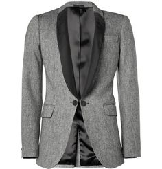 Alexander McQueen Wool-Blend and Satin-Twill Tuxedo Jacket. This exact closure and shape but in navy velvet