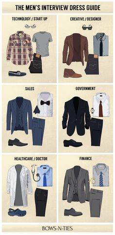 """bows-n-ties: """" Interview Dress Codes for the Top 6 Industries (source: BNT) """" Dress Attire, Men Dress, Dress Hats, Swag Dress, Mode Masculine, Interview Dress, Interview Outfit For Men, Dressing For An Interview, Job Interview Clothes"""