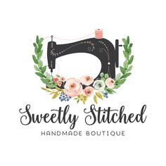 Premade Logo - Floral Sewing Premade Logo Design - Customized with Your Business Name!