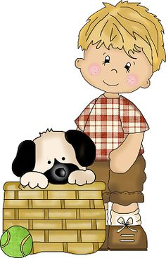 LITTLE BOY AND PUPPY CLIP ART
