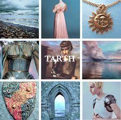 Casa Tarth de Castillo del Amanecer. Gobiernan la Isla de Tarth, al norte de la Bahía de los Naufragios. Su escudo son soles dorados y lunas crecientes en cuadrante azul y rosa. Región: Tierras de la Tormenta.