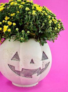 DIY Cement Pumpkin Planter for Halloween ⋆ Dream a Little Bigger Pumpkin Planter, Planter Pots, How To Clean Chrome, Cement Walls, Plastic Pumpkins, Crochet Beanie Pattern, Painted Pumpkins, Cleaning Chrome, Trick Or Treat