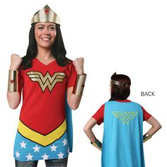 Wonder Woman caped tee, crown & cuffs. Awesome!