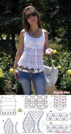 Blouse Top Pour Les Femmes Au Crochet Al - Diy Crafts - Qoster Débardeurs Au Crochet, Crochet Bolero, Crochet Tunic Pattern, Pull Crochet, Crochet Shirt, Crochet Woman, Crochet Cardigan, Black Crochet Dress, Top Pattern