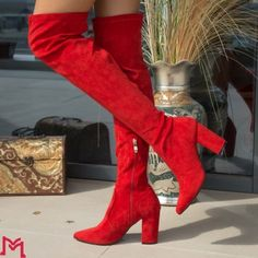 Cizme cu Toc Knee Boots, Red, Shoes, Fashion, Moda, Zapatos, Shoes Outlet, La Mode, Knee Boot