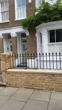 Front garden brick wall decorative railing tiled path and shutter windows - Modern Terrace Tiles, Patio Tiles, Victorian Front Garden, Victorian Terrace, Wall Railing, Small Front Gardens, Chinese Garden, Gate Design, Terrace Garden