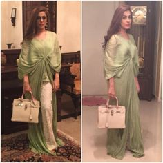 """""""Sania Ayaz looks super pretty in our mint green crushed kaftan top paired with lace pants from our Pret Wear Collection #sehrishrehan #pretwear #couture…"""""""