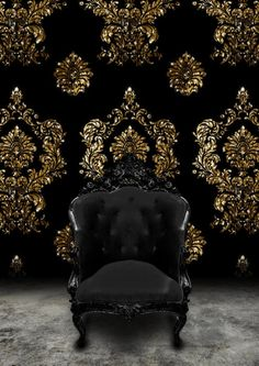 Chair for lounge area of a black and gold wedding - Black Baroque Chair and Black velvet and gold damask wallpaper as a wedding backdrop. Form Design, Gold Damask Wallpaper, Black Wallpaper, Velvet Wallpaper, Funky Wallpaper, Flowery Wallpaper, Amazing Wallpaper, Wallpaper Wallpapers, Wallpaper Ideas