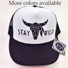 Womens Trucker Hat Stay Wild Deer Stag Boho by FreshBatchDes