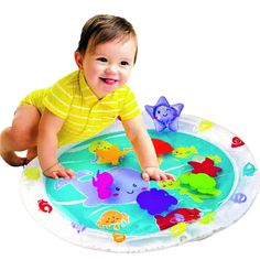 Amazon.com: Playkidz Super Durable Inflatable Earlyears Baby Water Play Mat Fill 'N Fun Play Water Mat: Toys & Games
