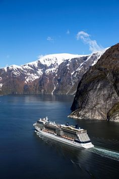 Celebrity Cruises to Alaska from Seattle. The Celebrity Solstice cruise ship in Tracy Arm Fjord Alaska.