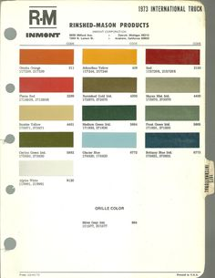 1973 International Harvester color chart
