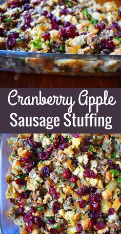 Traditional Cranberry Apple Sausage Stuffing made with toasted bread cubes savory sausage sweet crisp apples dried cranberries and savory spices A perfect Thanksgiving side dish recipe Stuffing Recipes For Thanksgiving, Thanksgiving Side Dishes, Christmas Recipes, Traditional Thanksgiving Recipes, Thanksgiving Dressing, Thanksgiving 2020, Thanksgiving Desserts, Christmas Desserts, Sausage Recipes