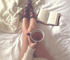 Tea. Sweater. Socks. Book. Bed. This pretty much describes me.