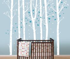 Birch Tree Decal with Butterflies, Birch trees, Birch forest, Birch Trees Wall Vinyl for Nursery, Living Room, Kids or Childrens Room. $85.00, via Etsy.