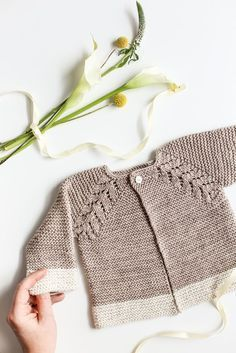 A Must Make Lovely Knit Top Down Cardigan Baby Sweater www.flaxandtwine....
