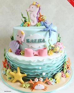 from April 2015 Cake Masters Magazine cake decorating recipes anniversaire chocolat de paques cakes ideas Ocean Birthday Cakes, Ocean Cakes, Birthday Cake Girls, First Birthday Cakes, Baby Cakes, Girl Cakes, Cupcake Cakes, 3d Cakes, Aquarium Cake