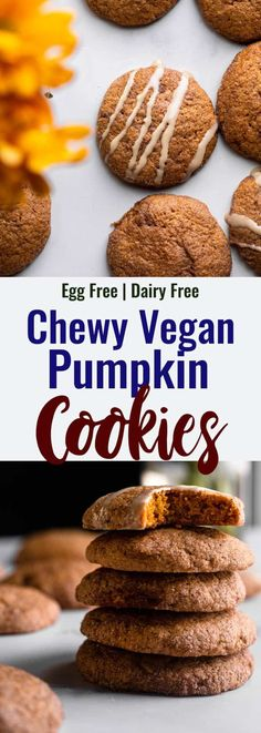 These Vegan Pumpkin Cookies are full of pumpkin spice flavor! The perfect vegan cookie recipe for fall, and easily made gluten free! | @FoodFaithFitness | Vegan Pumpkin Cookies, Pumpkin Cookie Recipe, Gluten Free Pumpkin, Pumpkin Spice, Dairy Free Eggs, Dairy Free Recipes, Vegan Recipes, Egg Free, Baking Recipes